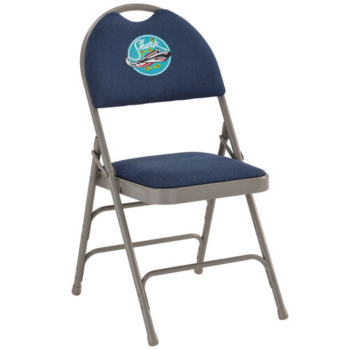 Our Embroidered HERCULES Series Ultra-Premium Triple Braced Navy Fabric Metal Folding Chair with Easy-Carry Handle is on sale now.