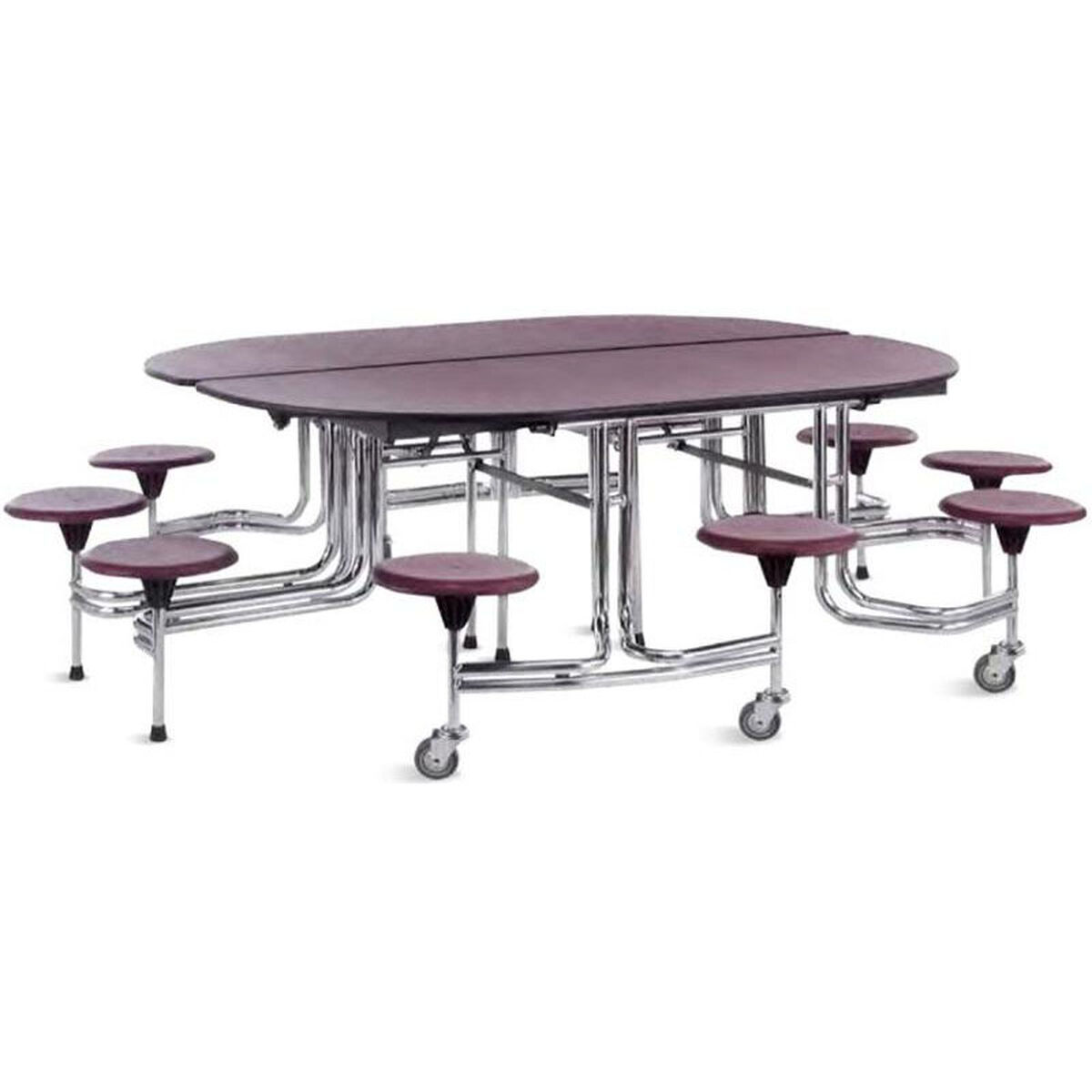 Foldable Oval Cafeteria Table With 10 Attached Round Seats