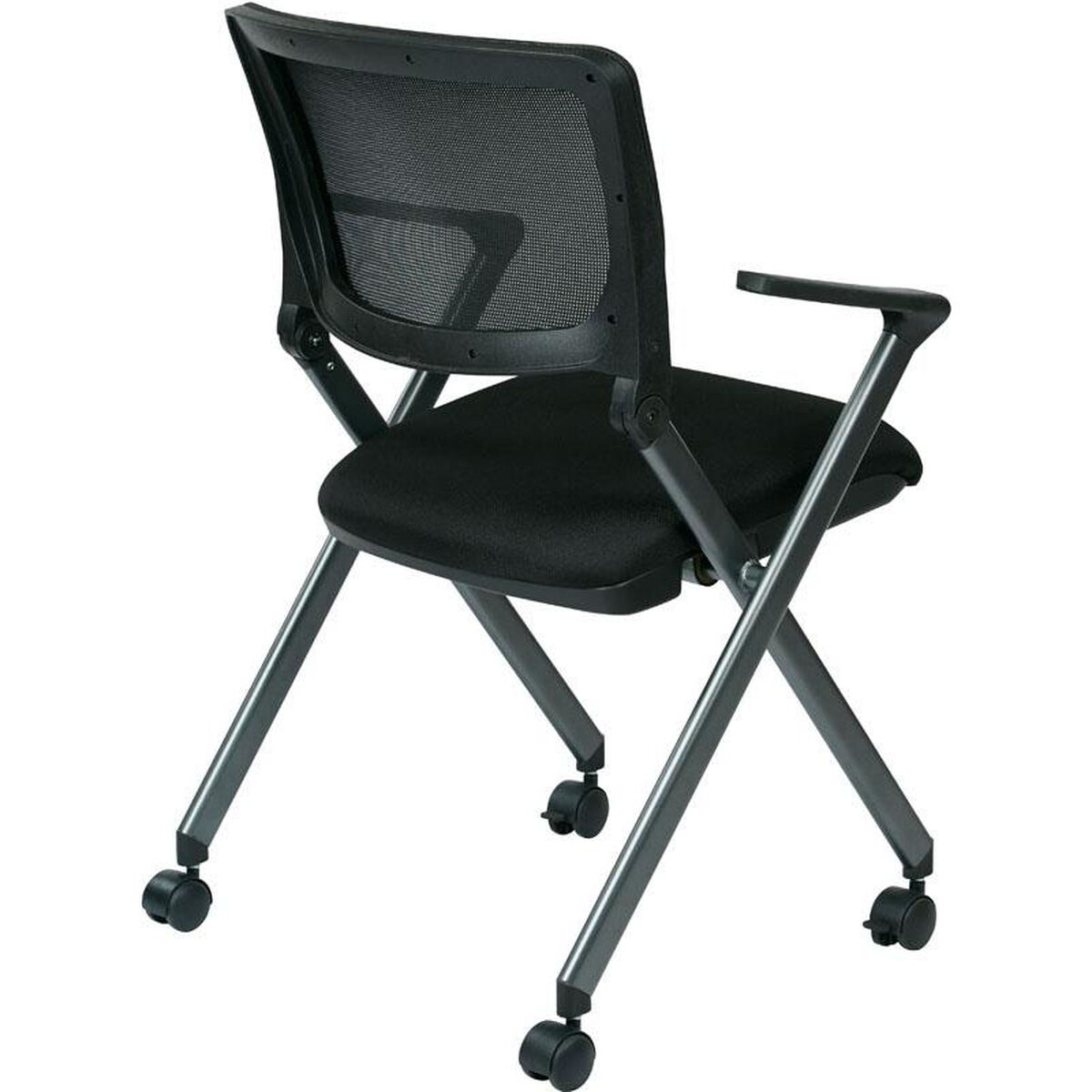 Our Work Smart Nesting Folding Chair With Screen Back And Padded Seat Set Of 2