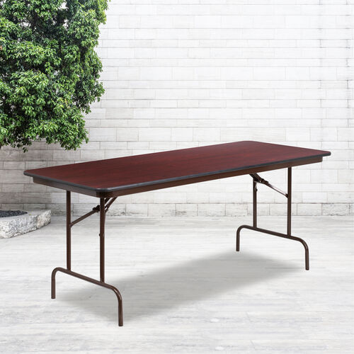 Our 6-Foot Mahogany Melamine Laminate Folding Banquet Table is on sale now.