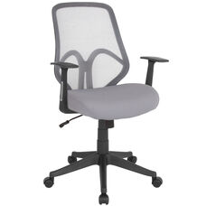 Salerno Series High Back Light Gray Mesh Chair with Arms