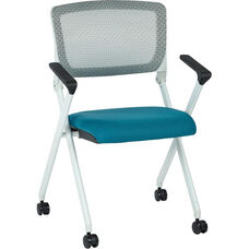 Space Pulsar Folding Chair with Breathable Mesh Back and Mesh Fabric Seat - Set of 2 - Blue