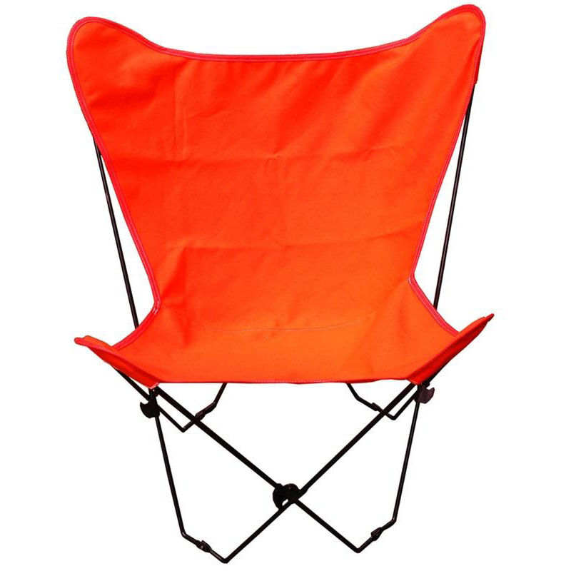 ... Our Folding Butterfly Chair With Black Steel Frame And Cotton Cover    Orange Is On Sale