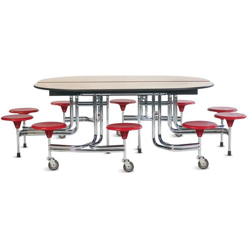 Our Foldable Oval Cafeteria Table with 10 Attached Round Seats - 98