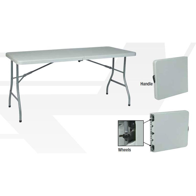 ... Our Work Smart 5u0027 Resin Multi Purpose Folding Table With Powder Coated  Frame And
