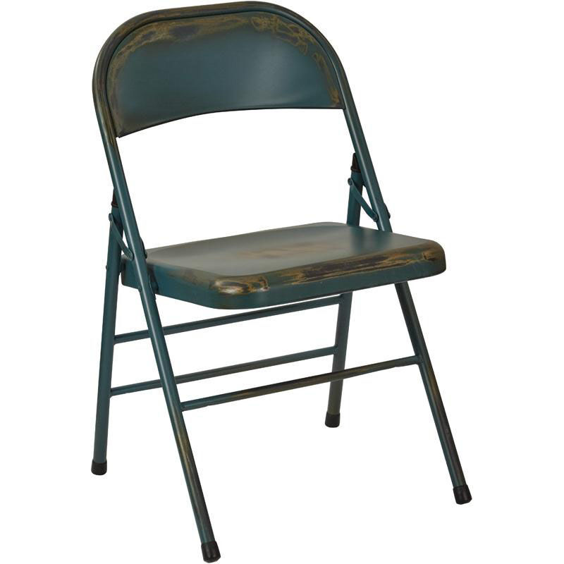 ... Our OSP Designs Bristow Distressed Steel Folding Chair   Set Of 2    Antique Turquoise Is ...