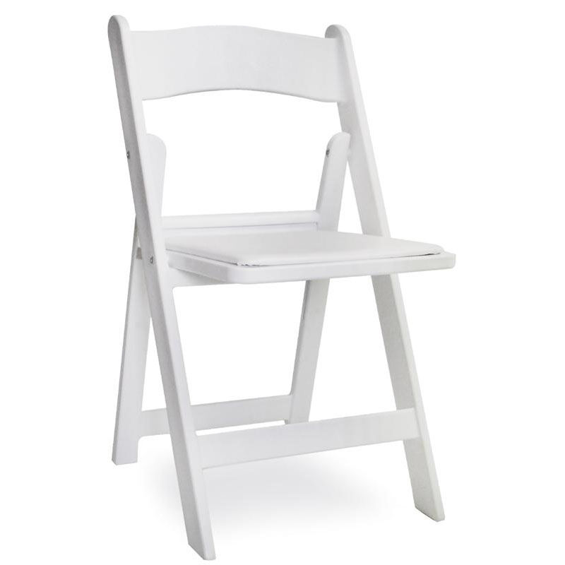 Gala Resin Steel Reinforced Stackable Folding Chair With Padded Seat   White