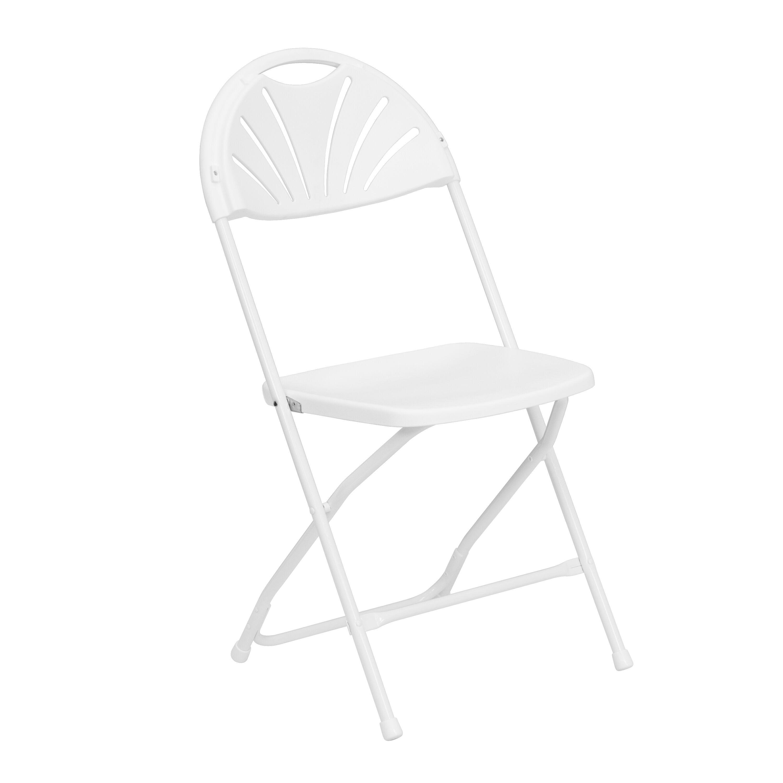 Flash Furniture HERCULES Series 800 Lb. Capacity White Plastic Fan Back Folding  Chair LE L 4 WHITE GG | FoldingChairs4Less.com