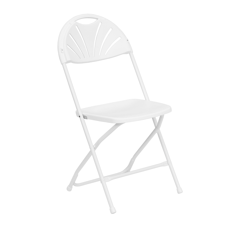 HERCULES Series 800 Lb. Capacity White Plastic Fan Back Folding Chair