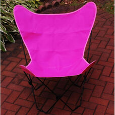 Folding Butterfly Chair with Black Steel Frame and Cotton Cover - Pink