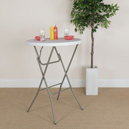 2.6-Foot Round Granite White Plastic Bar Height Folding Table