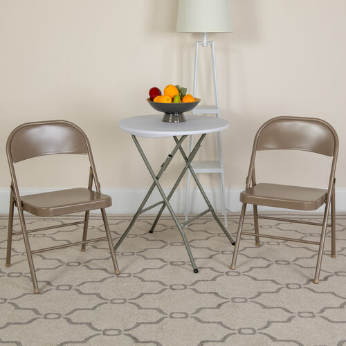 HERCULES Series Double Braced Beige Metal Folding Chair