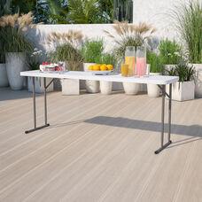 6-Foot Granite White Plastic Folding Training Table