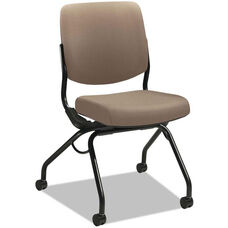 HON® Perpetual Series Mobile Nesting Armless Chair with Upholstered Back and Seat - Morel