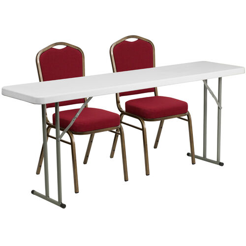 Our 6-Foot Plastic Folding Training Table Set with 2 Crown Back Stack Chairs is on sale now.