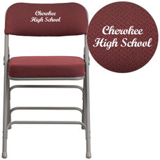 Embroidered HERCULES Series Premium Curved Triple Braced & Double-Hinged Burgundy Fabric Metal Folding Chair