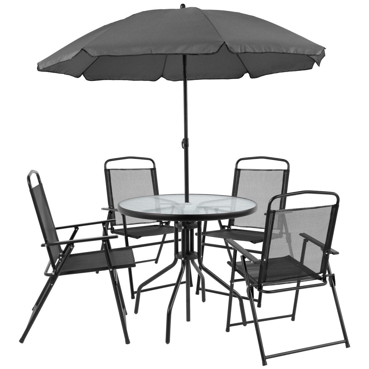 6pc Black Patio Set Umbrella Gm 202012 Bk Gg Foldingchairs4less Com