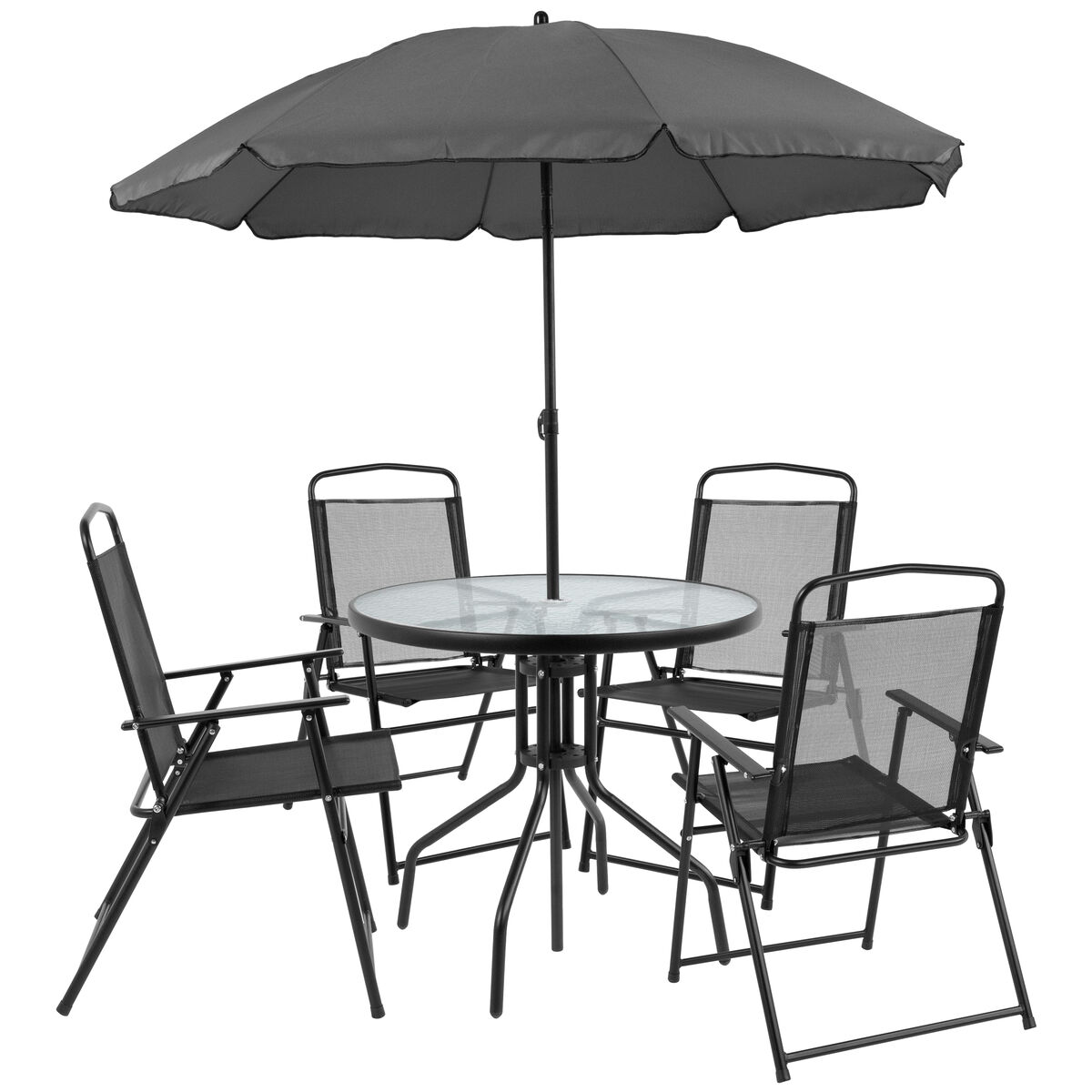 Patio Table Sets With Umbrella: 6PC Black Patio Set & Umbrella GM-202012-BK-GG
