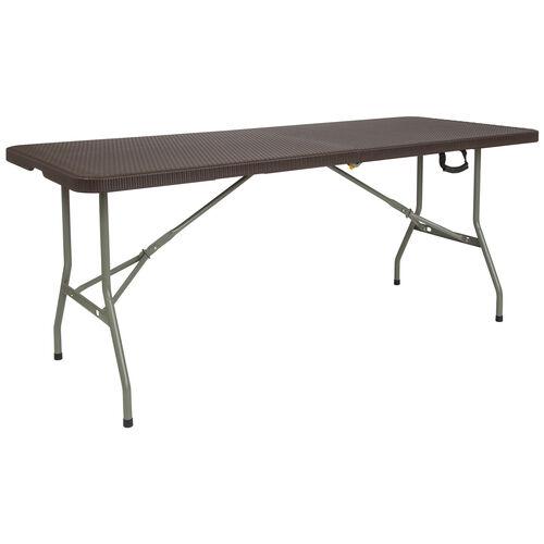 6-Foot Bi-Fold Brown Rattan Plastic Folding Table