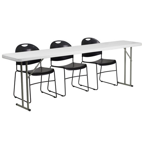 Our 8-Foot Plastic Folding Training Table Set with 3 Black Plastic Stack Chairs is on sale now.