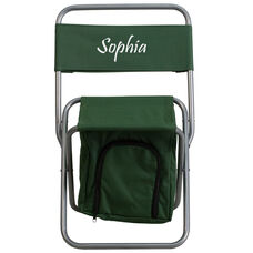 Embroidered Folding Camping Chair with Insulated Storage in Green