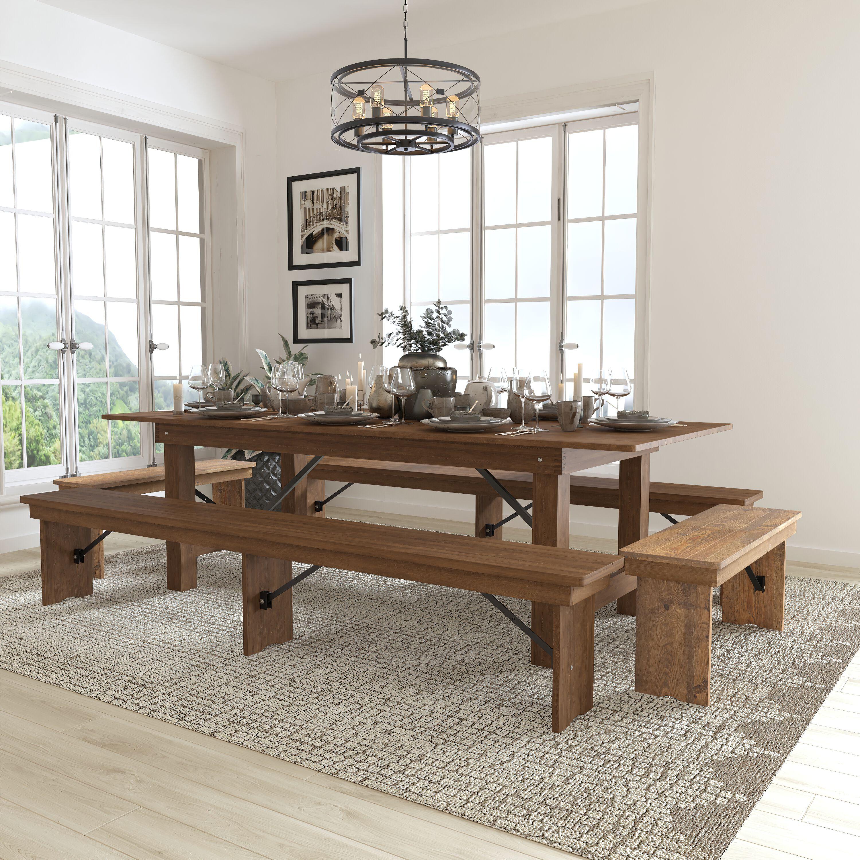 ... Our HERCULES Series 8u0027 x 40u0027u0027 Antique Rustic Folding Farm Table and Four  sc 1 st  Folding Chairs 4 Less & 8u0027x40