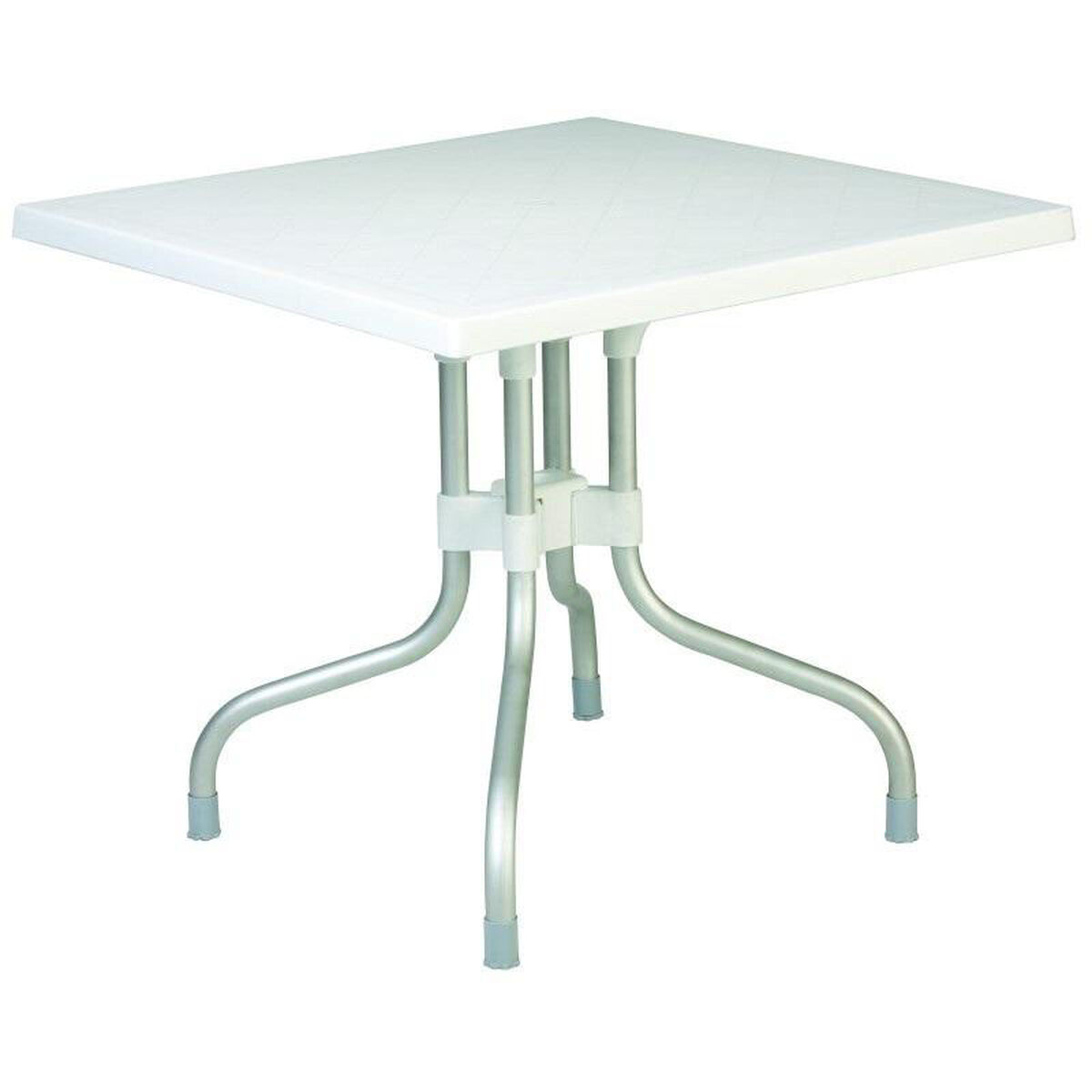 Our Forza Resin Outdoor Folding 31 Square Dining Table With Aluminum Legs White