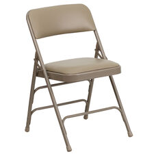 HERCULES Series Curved Triple Braced & Double-Hinged Beige Vinyl Fabric Metal Folding Chair