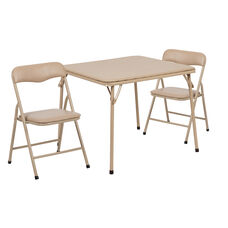 Kids Tan 3 Piece Folding Table and Chair Set