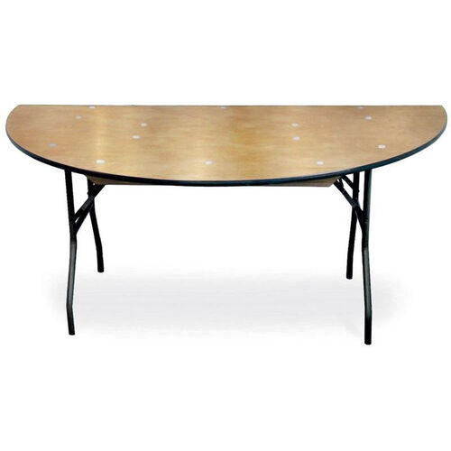 Diameter 1/2 Round Plywood Folding Table with Locking Wishbone Style Legs