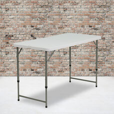 4-Foot Height Adjustable Bi-Fold Granite White Plastic Folding Table
