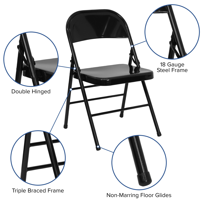 ... Our HERCULES Series Triple Braced U0026 Double Hinged Black Metal Folding  Chair Is On Sale