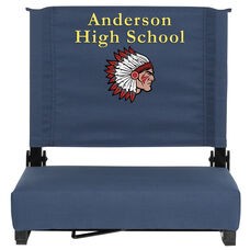 Embroidered Grandstand Comfort Seats by Flash with Ultra-Padded Seat in Navy Blue