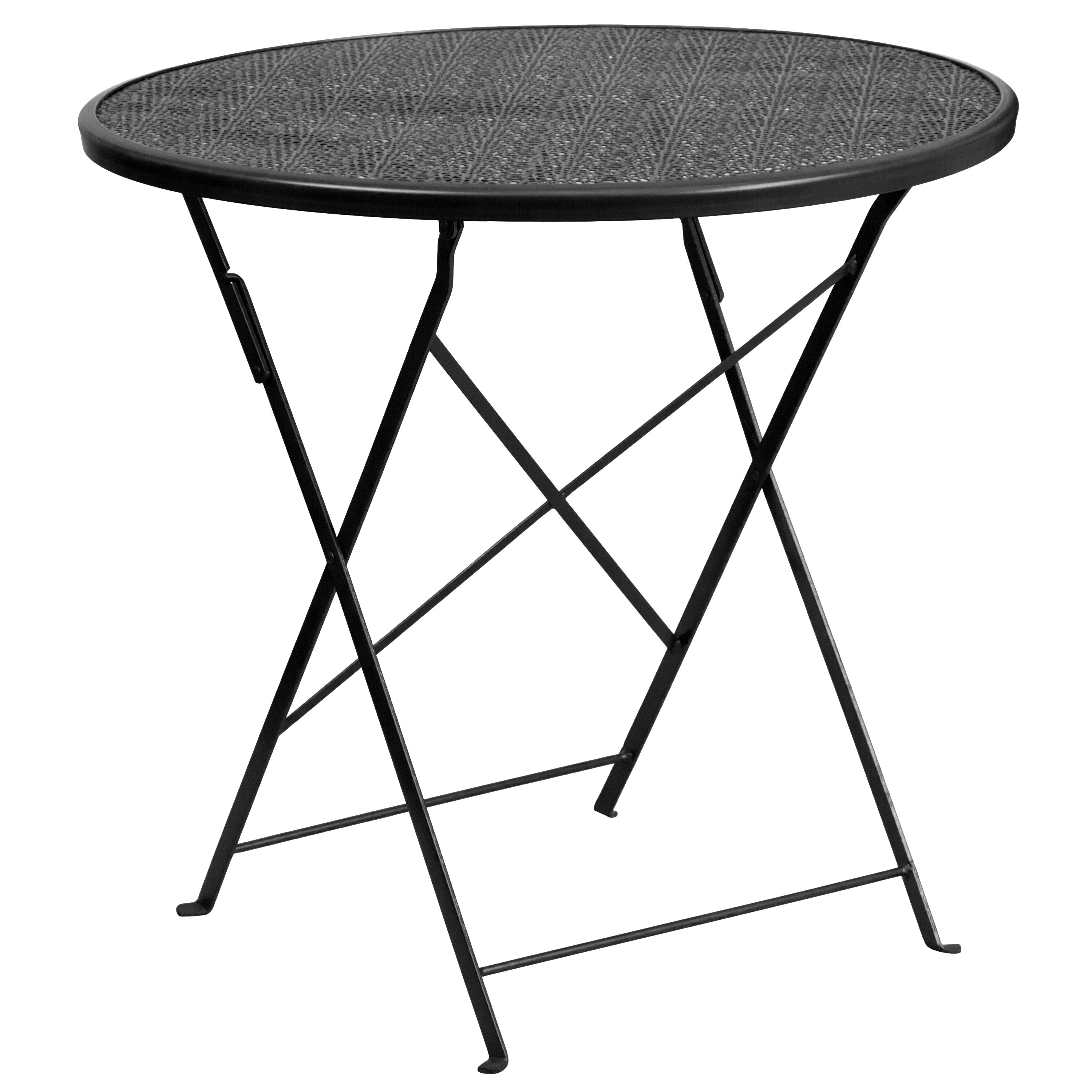 ... Our 30u0027u0027 Round Black Indoor Outdoor Steel Folding Patio Table Is On Sale
