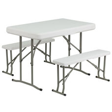 Plastic Folding Table and Bench Set