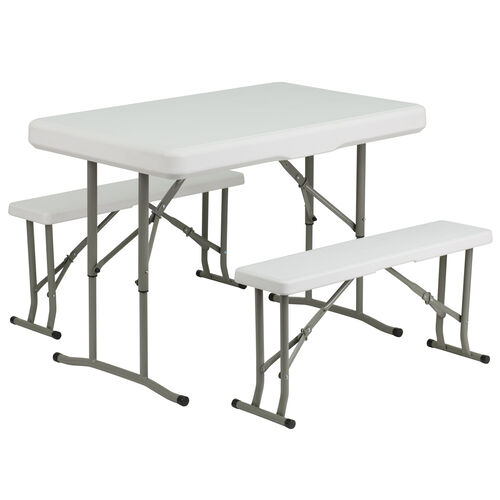 Our 3 Piece Portable Plastic Folding Bench and Table Set is on sale now.