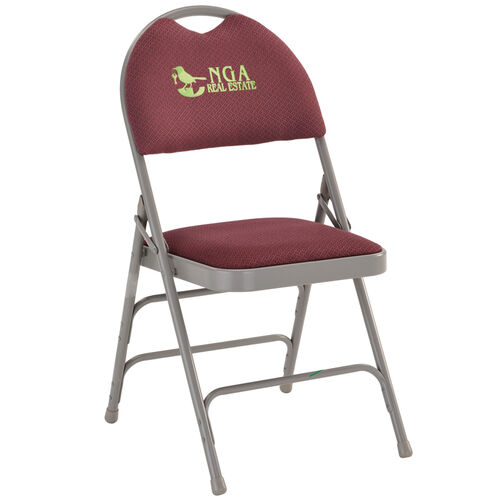 Our Embroidered HERCULES Series Ultra-Premium Triple Braced Burgundy Fabric Metal Folding Chair with Easy-Carry Handle is on sale now.