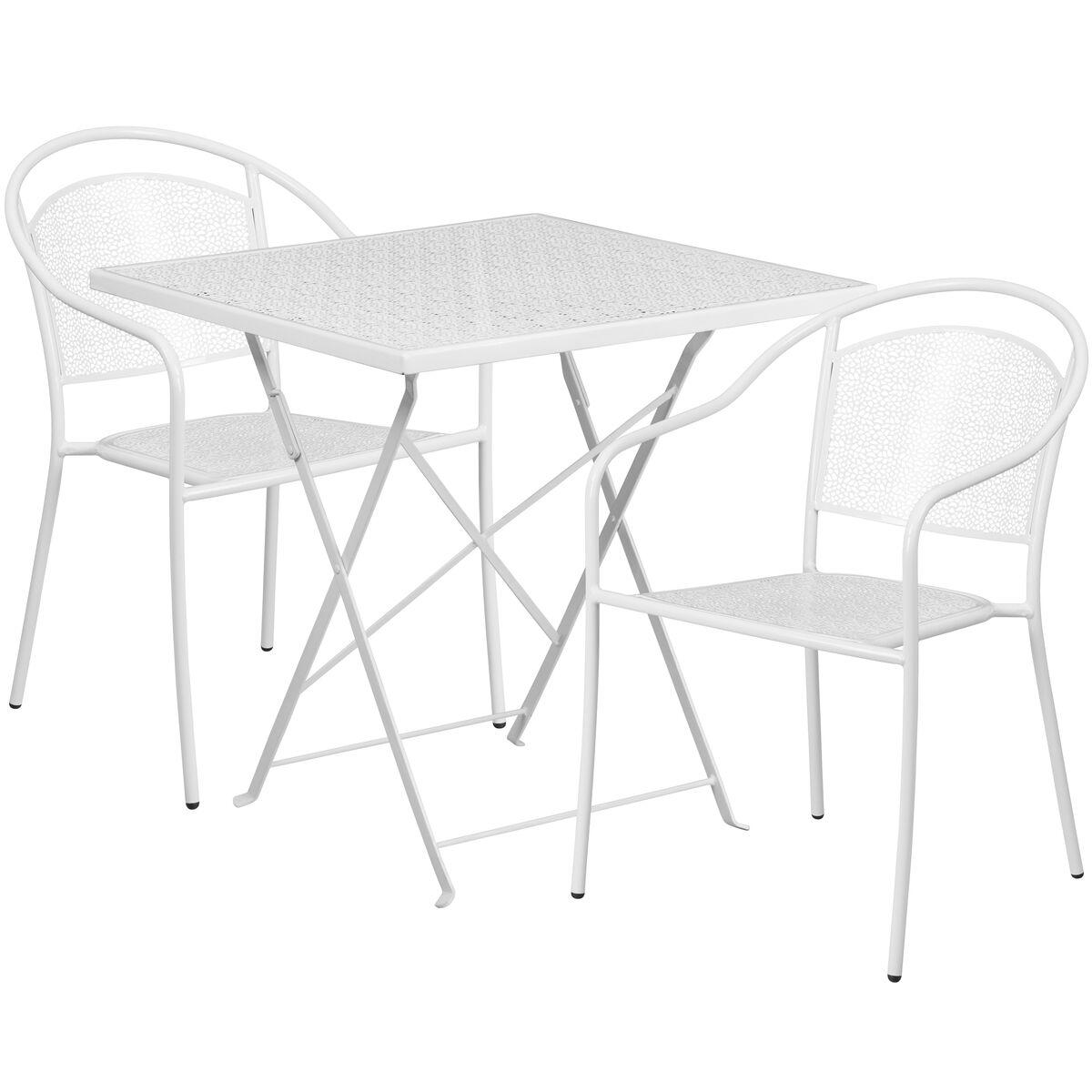SQ White Fold Patio Set COSQFCHRWHGG FoldingChairsLesscom - Metal folding patio table and chairs
