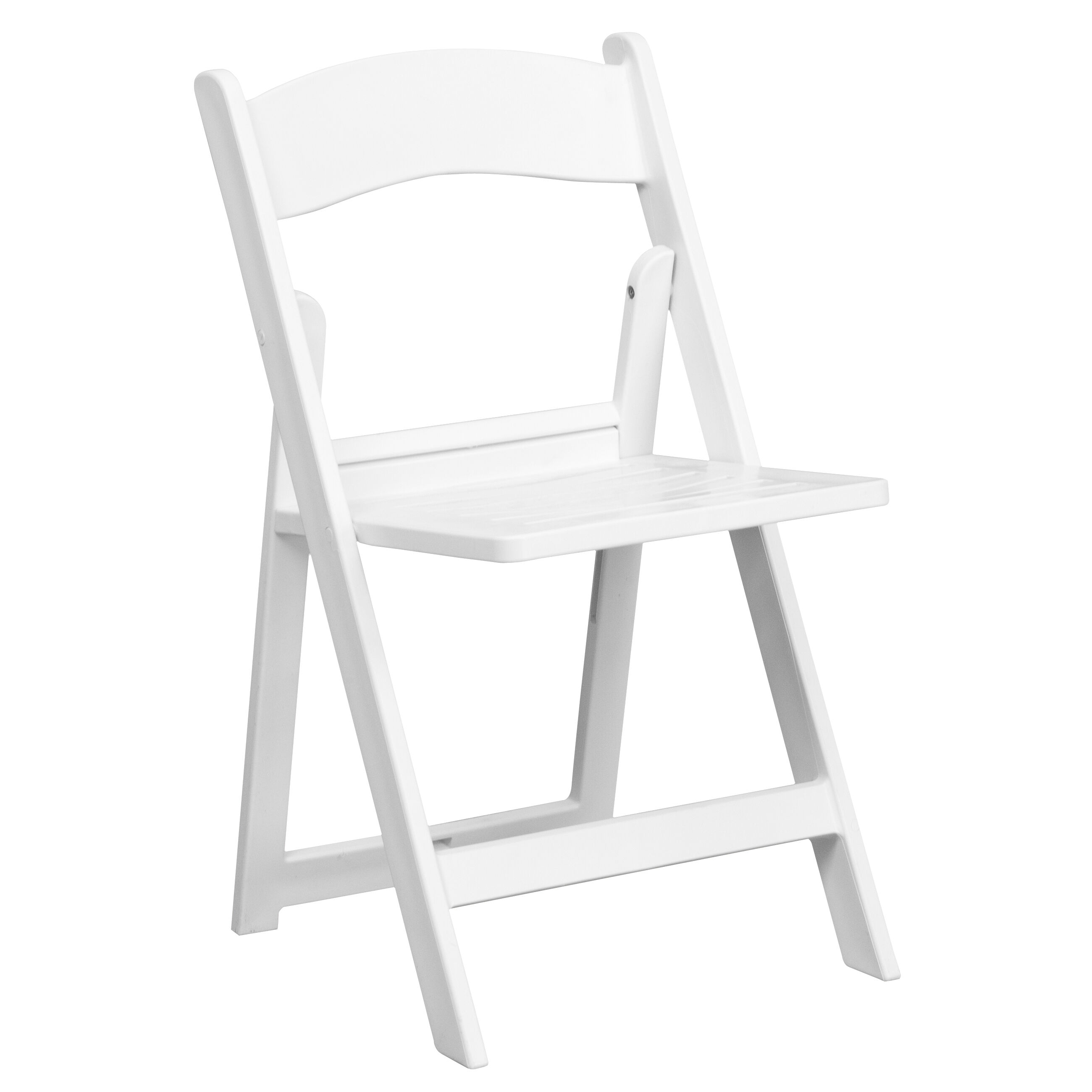 Capacity White Resin Folding Chair with Slatted Seat : resin folding chair - Cheerinfomania.Com