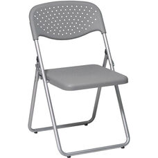 Work Smart Folding Chair with Ventilated Plastic Seat and Back - Set of 4 - Grey with Silver Frame