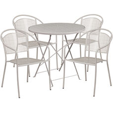 "Commercial Grade 30"" Round Light Gray Indoor-Outdoor Steel Folding Patio Table Set with 4 Round Back Chairs"