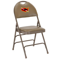 Embroidered HERCULES Series Ultra-Premium Triple Braced Beige Vinyl Metal Folding Chair with Easy-Carry Handle