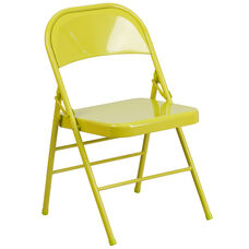 HERCULES COLORBURST Series Twisted Citron Triple Braced & Double-Hinged Metal Folding Chair