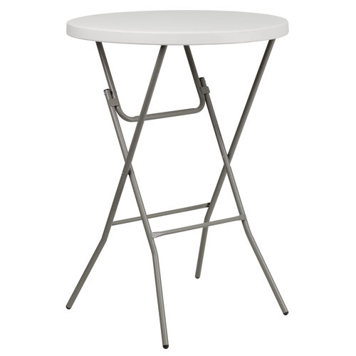 Our 3-Foot Round Granite White Plastic Bar Height Folding Table is on sale now.
