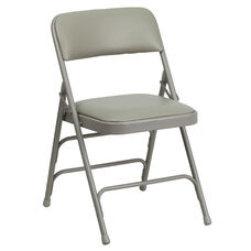 HERCULES Series Curved Triple Braced & Double-Hinged Gray Vinyl Fabric Metal Folding Chair
