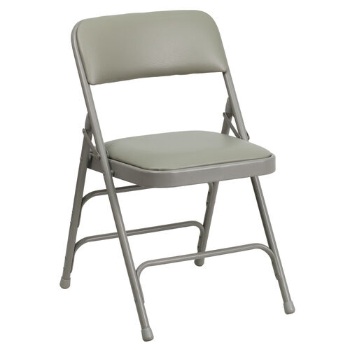 Our HERCULES Series Curved Triple Braced & Double-Hinged Gray Vinyl Fabric Metal Folding Chair is on sale now.