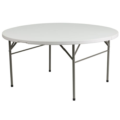 Our Plastic Folding Table | 5 Foot White Plastic Round Folding Table is on sale now.
