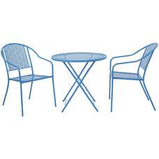 OSP Designs FCD1537 3 Piece Metal Folding Table Set - Blue