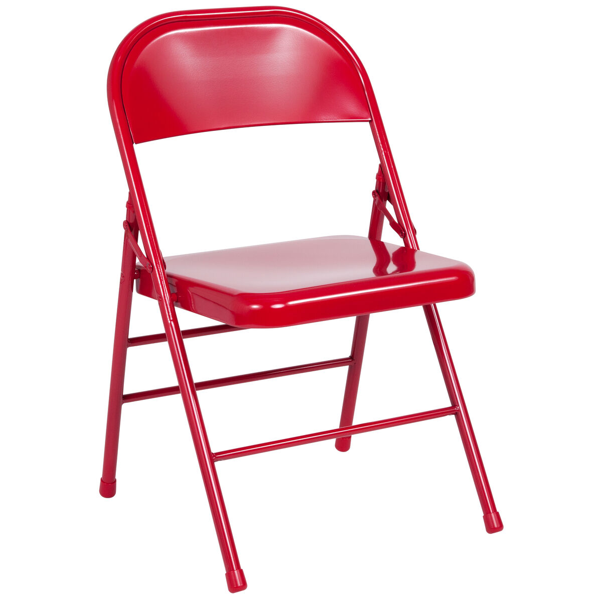 Outstanding Hercules Series Triple Braced Double Hinged Red Metal Folding Chair Caraccident5 Cool Chair Designs And Ideas Caraccident5Info