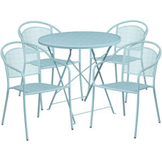 "Commercial Grade 30"" Round Sky Blue Indoor-Outdoor Steel Folding Patio Table Set with 4 Round Back Chairs"